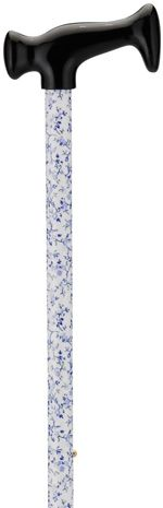 Print Cane - Blue Flowers on White
