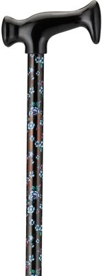 Print Cane - Blue and Pink Flowers on Black
